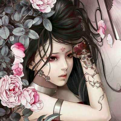 虞姬扇子纹身线条手稿分享展示